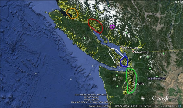 Vancouver Island and Puget Sound with circles_01