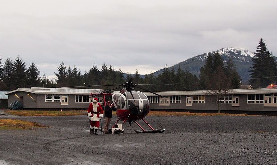 santa by helicopter