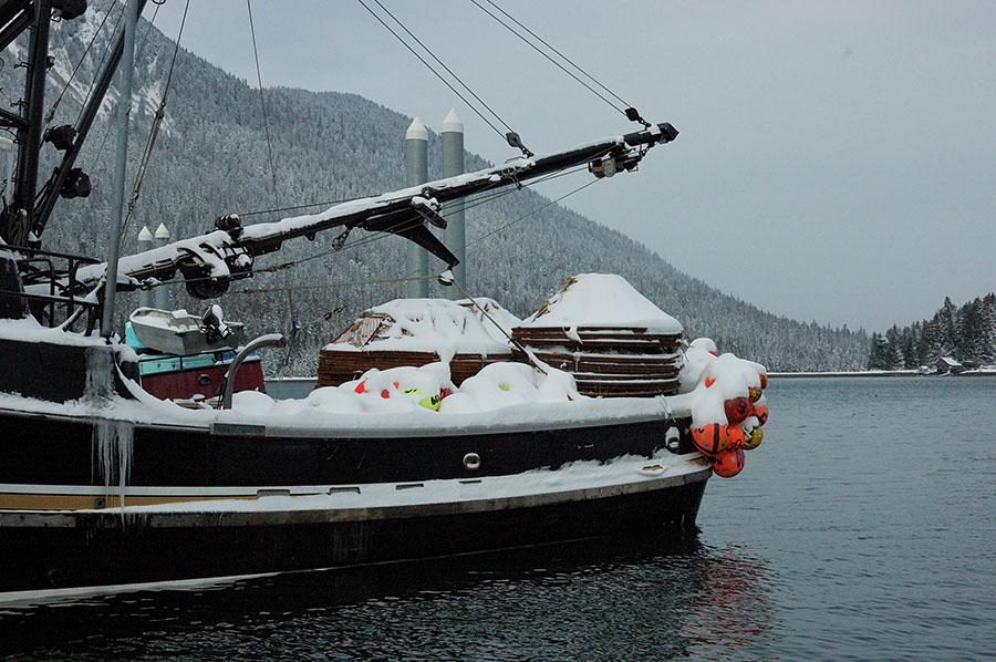 20150207 4258 signe lynn ready for crabbing with snow r
